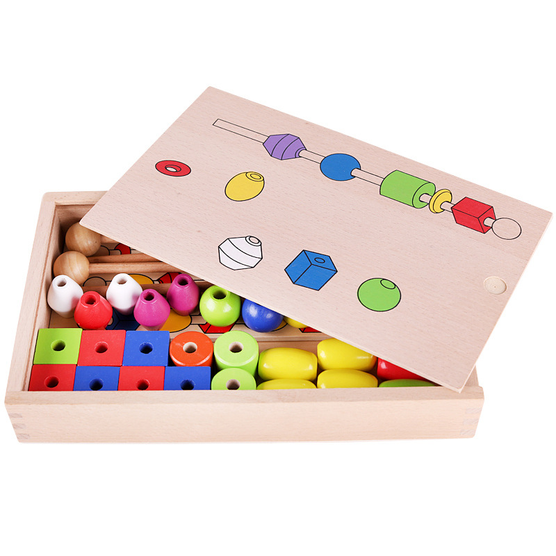 Montessori Intelligence Beaded Bracelet 1-3 Years Old Children'S Educational Toy The Three-body Problem Six-Color Rosary Box Tea