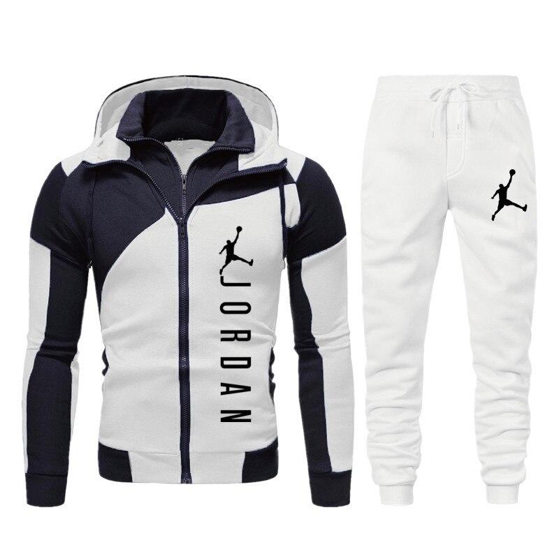 Новые мужские комплект с толстовкой на ребенка старше Jordan 23 спортивный костюм свитшоты на молнии комплект худи из флиса Спортивные штаны бр...