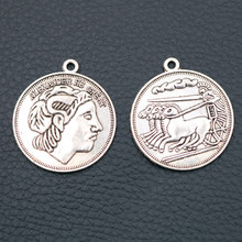 Alexander the Great Tags Metal pendant - 33*29mm Retro Lucky Coins Charms, Ancient Greece Commemorative Coin A2002 6pcs
