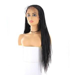Image 4 - Boîte tresses synthétique dentelle avant perruques sénégalais torsion longue droite oreille à loreille cheveux tressés 13X4 perruque de dentelle avec des cheveux de bébé X TRESS