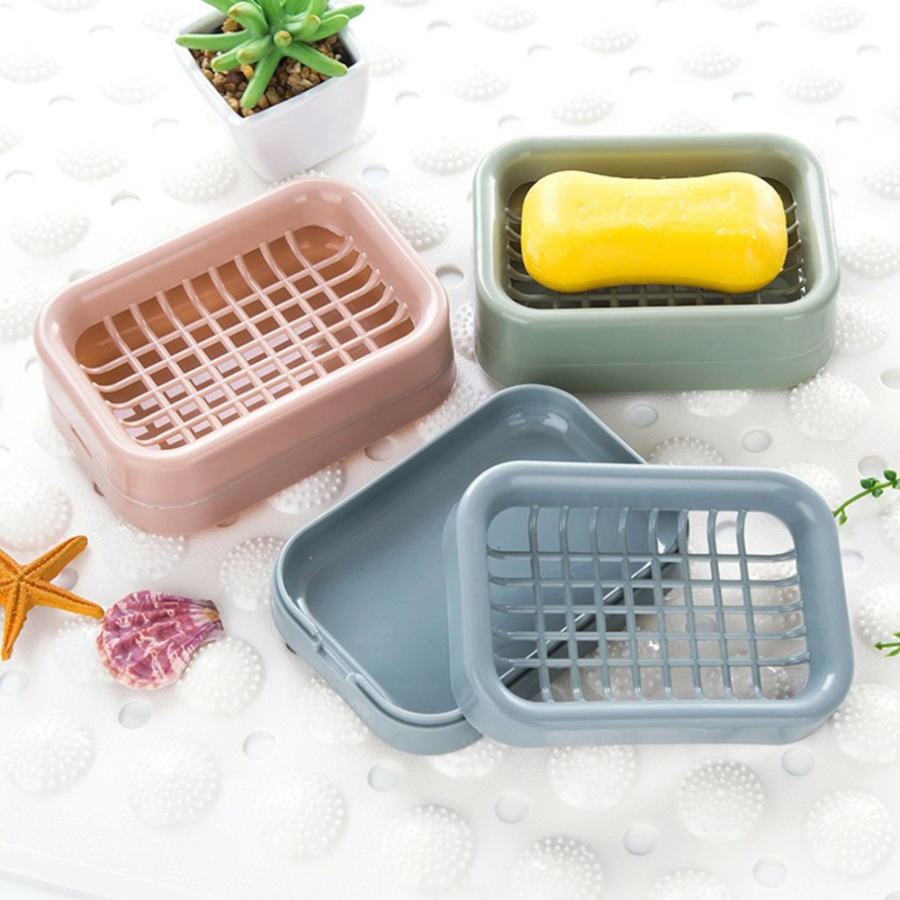 Bathroom Double Layers Drain Soap Holder Box Bathroom Handmade Soap Rack Container Box Nordic Soap Organizer Storage Case