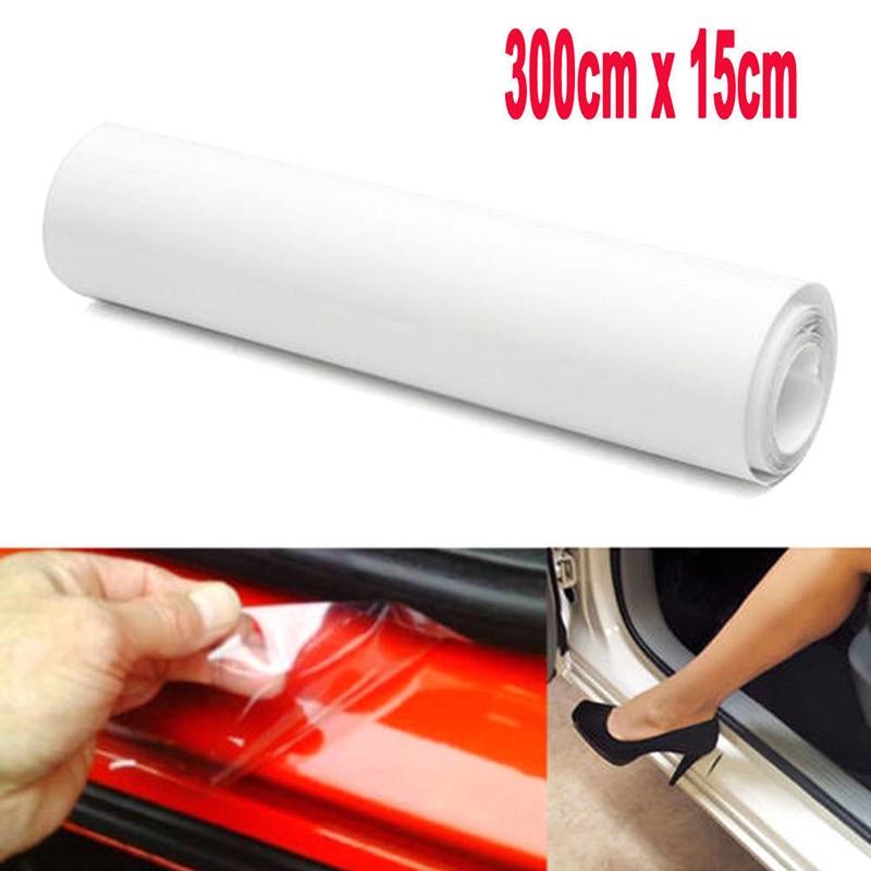 Clear 15*300cm Car Door Sill//Edge Paint Protection Vinyl Film Sheet Anti-Scratch
