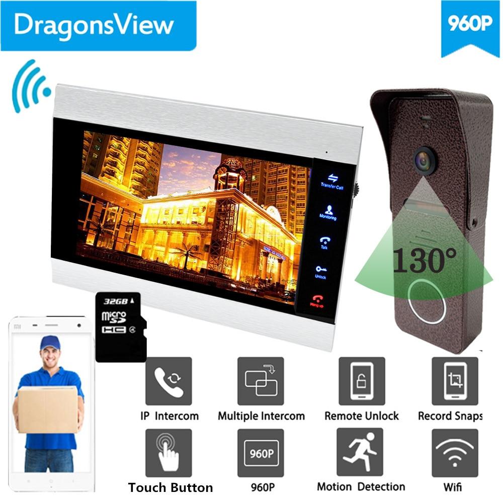 【960P Wide Angle 】Dragonsview Video Door Phone 7 Inch Wireless Home Intercom System Wifi Monitor Doorbell Camera Unlock Record