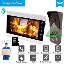 【 960P רחב זווית 】Dragonsview וידאו דלת טלפון 7 אינץ אלחוטי בית אינטרקום מערכת Wifi צג פעמון מצלמה נעילה שיא