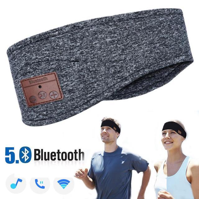 JINSERTA Bluetooth 5.0 음악 헤드 밴드 헤드셋, 요가 체육관 수면 스포츠 이어폰 실행을위한 마이크 무선 이어폰 헤드폰 포함