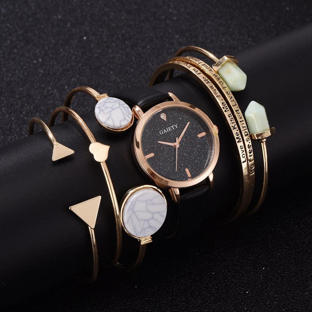 6pcs Set Creative Rose Gold Quartz Watch Women Bracelet Set 2019 Ladies Watches Gift Jewelry Set Relogio Feminino Montre Femme