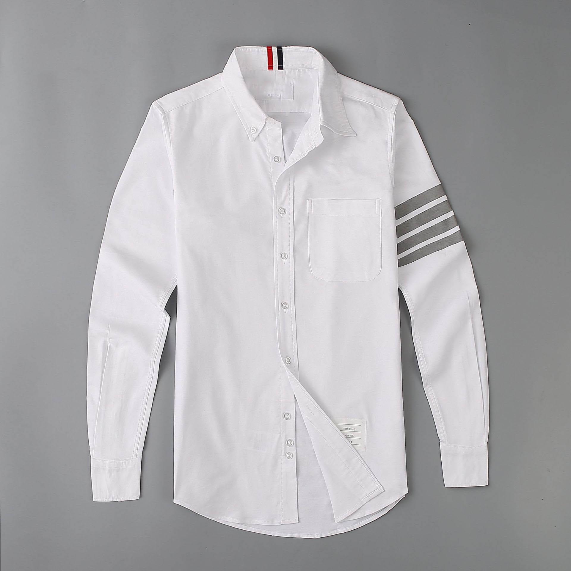 New 19ss Men Oxford Classic Grey Stripe Fashion Cotton Casual Shirts Shirt High Quality Pocket Long-sleeves Top M 2XL #M49