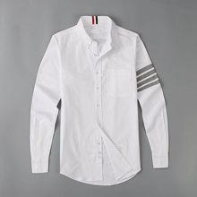 Nouveau 19ss Hommes Oxford Classique Gris à rayures Mode Chemises En Coton Décontractées Chemise de poche De Haute Qualité À manches longues Top M 2XL # M49