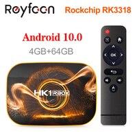 Hk1 rbox smart tv box android 10 4 gb 64 rockchip rk3318 1080 p h.265 5g wifi 4 k google player loja netflix youtube conjunto caixa superior