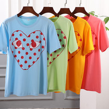 2021 Summer Couples pure cotton multicolour T-Shirt for Women and Men Casual Tops T-Shirt Love Heart Embroidery Print T-Shirt