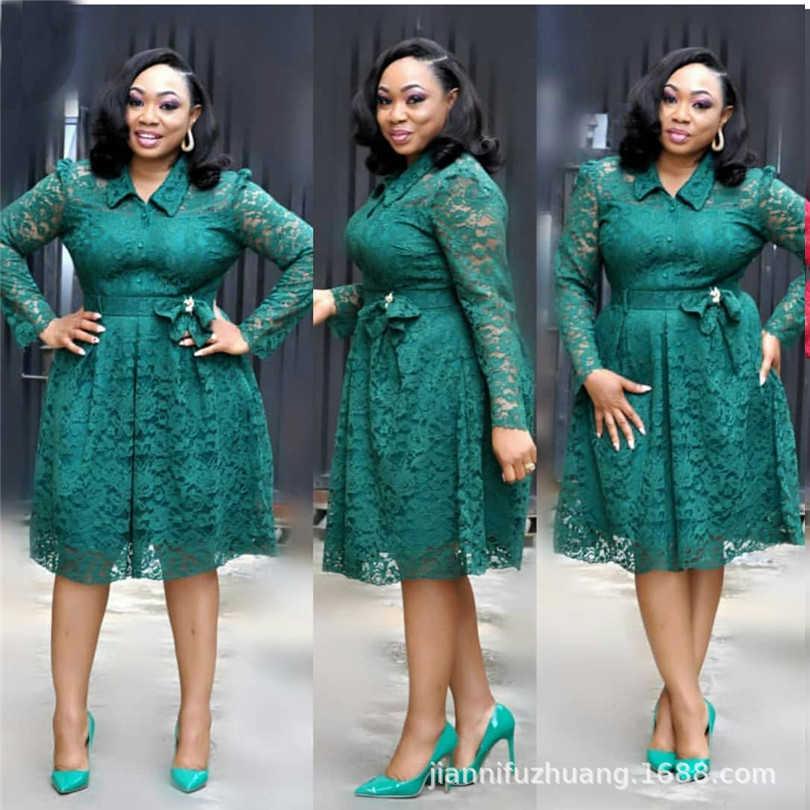 2019 frühling neue jahr afrikanische kleider für frauen spitze robes büro kleid vintage retro casual midi kleid afrika dame kleidung