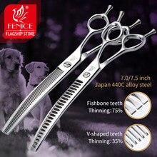 Fenice 7.0/7.5 polegada profissional cão grooming tesouras de desbaste curvado tesoura para rosto do cão corpo cuting jp 440c alta qualidade