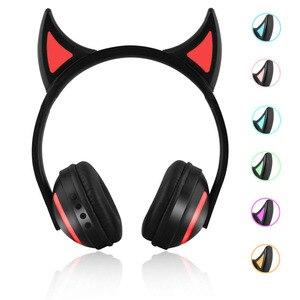 Image 2 - Jinsertaワイヤレスbluetooth猫耳ヘッドフォン 7 種類ledライト点滅グローイングコスプレファンシー猫イヤホンギフト