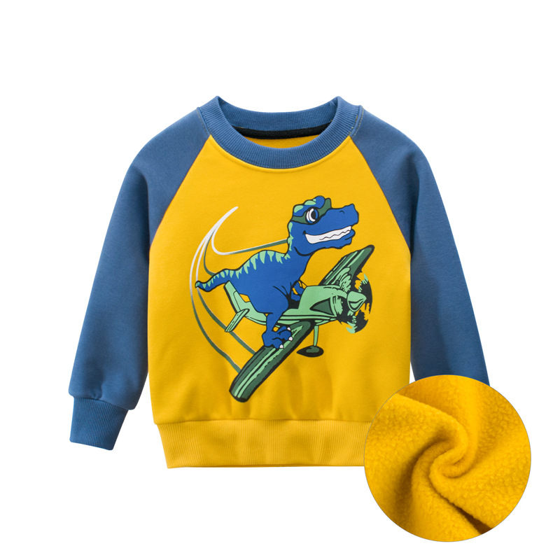 27kid Dinosaur Pattern Boys kids T-shirt For Kids Autumn Sweatershirt Blouse Tops Children's sweater hood Spring Clothing 3