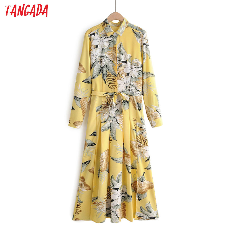 Tangada Fashion Women Flowers Print Shirt Dress Turn Down Collar Long Sleeve Zipper Bow Tie Ladies Work Dress Vestidos 1F22