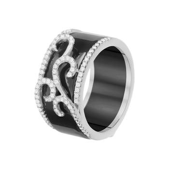 Кольцо из серебра с керамикой и фианитами R00862