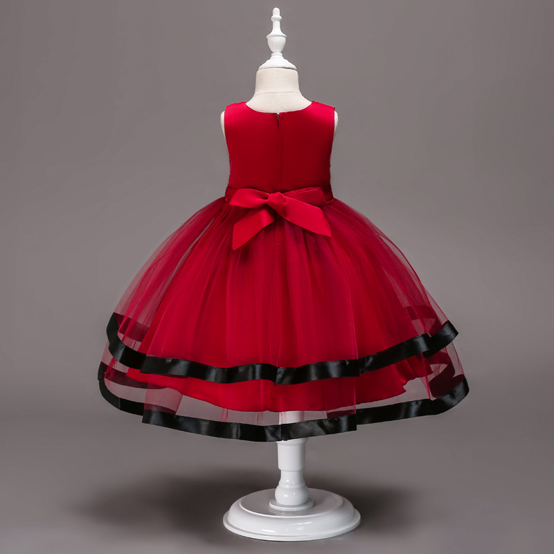 Kelly's Europe And America GIRL'S Skirt Color Ribbon Stripes Formal Dress Performance Skirt Gauze Tutu Cute Formal Dress