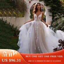 LORIE linia suknia ślubna 3D kwiaty Spaghetti pasek suknia dla panny młodej 2020 Backless księżniczka długie Boho piętro długość suknia ślubna