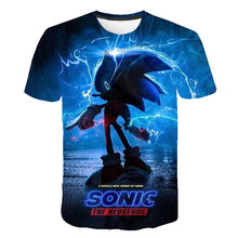 Summer Boys Girls Short Sleeve O-Neck Funny Impostor 4-16T Rears Old Children's Top [T-Shirt] Sonic 3D Cartoon Football Shirt