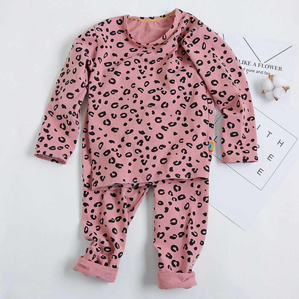 Pijama çocuk bebek erkek kız pijama seti 18M-8yrs çocuk çocuk baskı leopar pijama salonu giyim pamuk kız Roupa Infantil