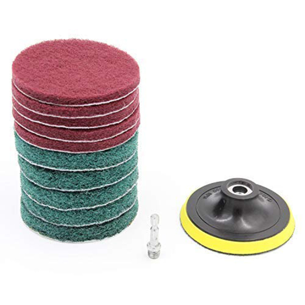 11pcs/Set Cleaning Kit Scouring Pad 100mm M10 Thread 1/4 Shaft Stainless Steel