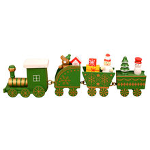 Christmas Train Painted Wooden Decoration for Home Merry Christmas Ornament Toys 2019 Xmas Decor New Year Gift Girl Boys(China)