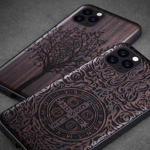 Image 2 - ブラックウッド11プロケースiphone 11プロマックスケース木製se 2020カバーtpu coque iphone 7 8プラスx xr xs 11プロマックスfunda