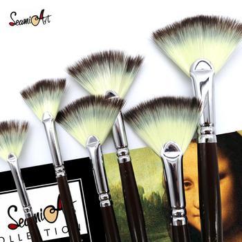 SeamiArt 6Pcs Fan shaped Nylon Hair Gouache Watercolor Paint Brush Set for School Painting Drawing Painting Brush Art Supplies 1