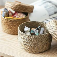 Cajas de almacenamiento para SNACK caja de acabado hecha a mano con tapa-cesta de almacenamiento tejida armario cesta de almacenamiento de escritorio caja redonda de regalo
