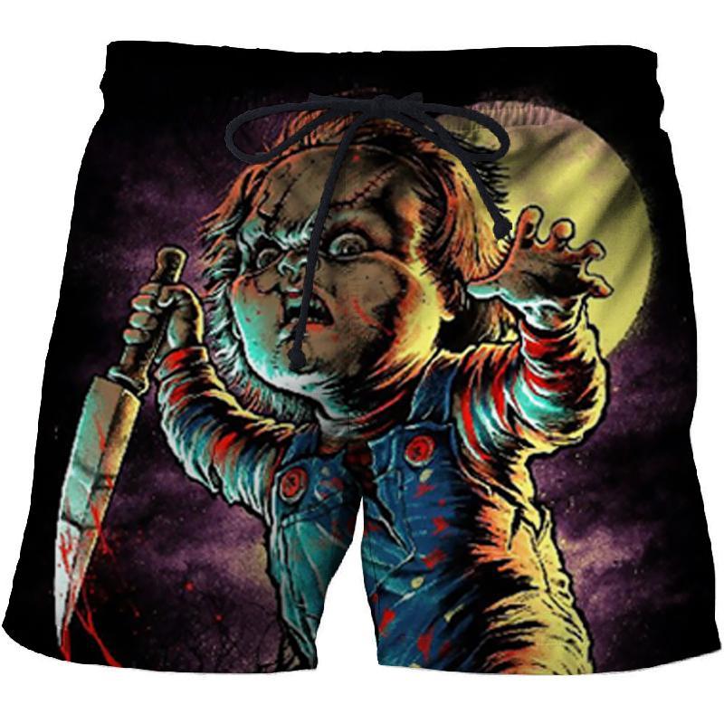 2019 Punk Wind Clown Print Men's Beach Shorts Comfortable Fitness Quick-drying Swim Trunks Street Funny Fun 3D Shorts