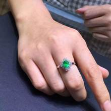 Natural And Real emerald luxury ring ring Free shipping gemstone 925 sterling silver Fine jewelry(China)