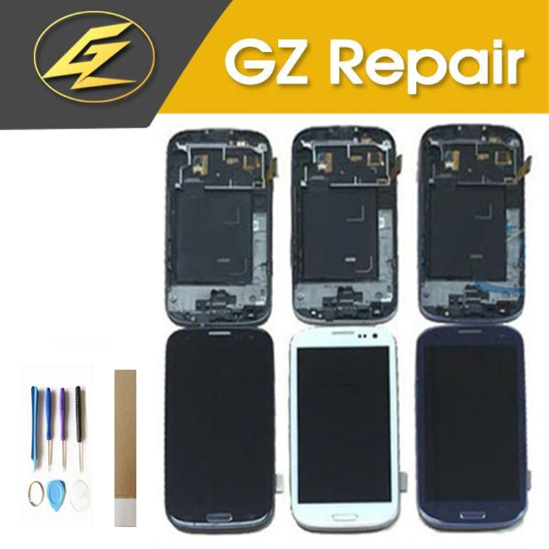 Blue White Black Color For <font><b>Samsung</b></font> <font><b>Galaxy</b></font> <font><b>S3</b></font> i9300 i535 <font><b>LCD</b></font> Display Touch <font><b>Screen</b></font> Digitizer Assembly With Frame image