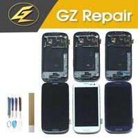 أزرق أبيض أسود اللون لسامسونج غالاكسي S3 i9300 i535 شاشة LCD تعمل باللمس محول الأرقام الجمعية مع الإطار|شاشات LCD للهاتف المحمول|الهواتف المحمولة ووسائل الاتصالات -