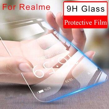 Перейти на Алиэкспресс и купить 9H HD закаленное стекло для Realme X2 Pro защита переднего экрана для Realme X XT Q защитное стекло на OPPO Realme C1 C2 U1 Q пленка