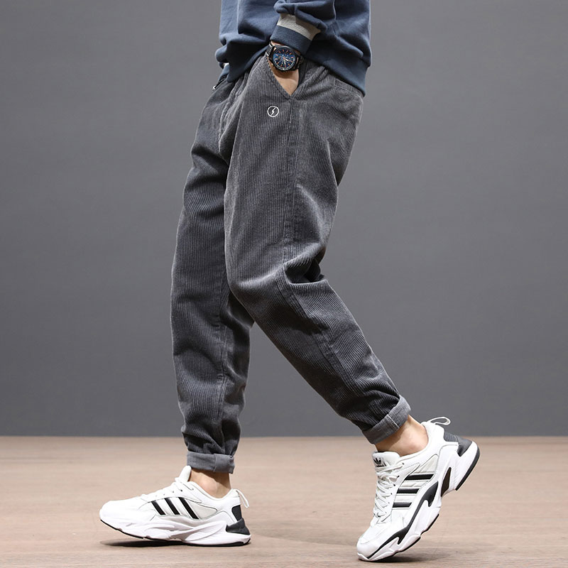 Fashion Streetwear Men Jeans Loose Fit Casual Corduroy Cargo Pants Harem Trousers Gray Color Hip Hop Joggers Men Pencil Pants