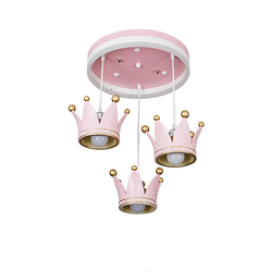 Europejski styl różowa korona żyrandol dzieci światło do pokoju dziewczyna sypialnia księżniczka pokój osobowość oryginalność nowoczesny|Wiszące lampki|Lampy i oświetlenie -