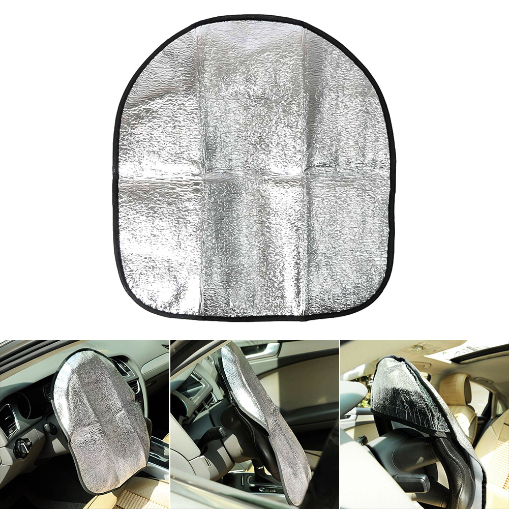 44x50cm Car Steering Wheel Anti-Heat Sun Shade Cover High Quality Silver Double Thick Sun-proof Anti-UV Protect Parasol Shield