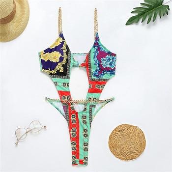 Brazilian One Piece Swimsuit String Monokini Sexy Neon High Cut Bikini Bandeau Swimwear Ring Chain Bodysuits Swimming Suit 10