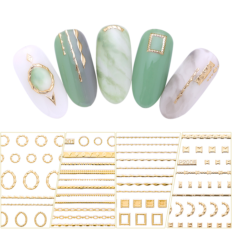 Gold 3D Nail Sticker Lines Strip Geometric Heart Self Adhesive Nail Art Transfer Stickers Manicure Decoration