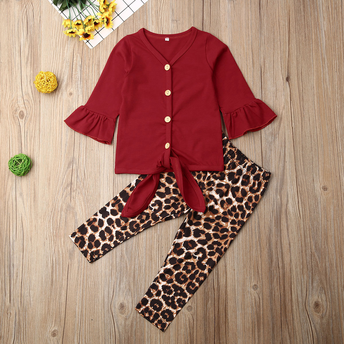Pudcoco Autumn Toddler Baby Girl Clothes Solid Color Flare Long Sleeve Button Tops Leopard Print Long Pants 2Pcs Outfits Set