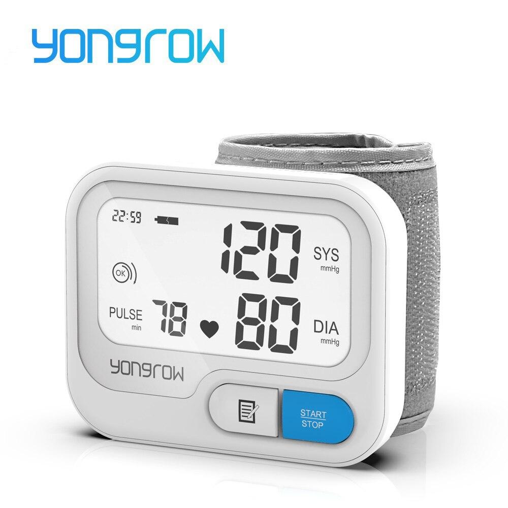 Yongrow tonômetro pulso automático digital monitor de pressão arterial digital lcd sphgmomanômetro freqüência cardíaca medidor de pulso bp monitor