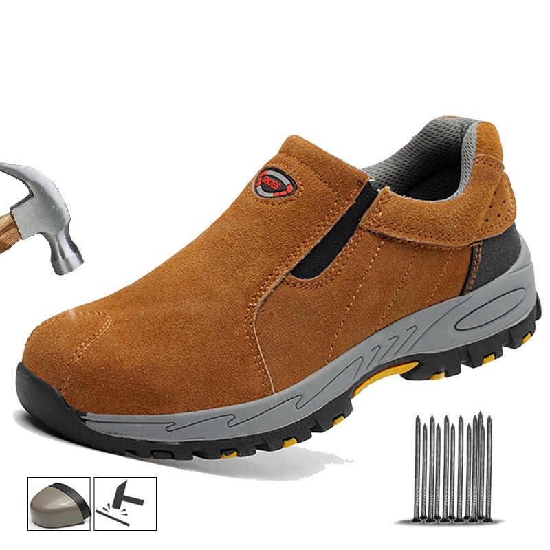 Yadibeiba Stalen Neus Veiligheid Werk Schoenen Heren Winter Schoeisel Punctie Proof Hoge Kwaliteit Veiligheid Schoenen Ademend Leer Man Laars