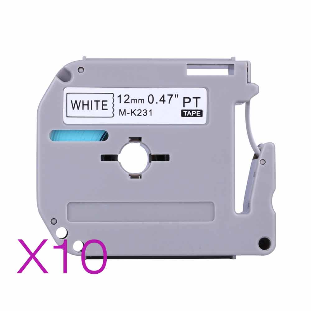 Compatible brother M-K231 MK231 10 MK 231 MK-231 black on white 12mm laminated strong adhesive label tapes for PT-80 PT-70