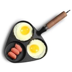 Gietijzeren Non-Coating 3In1 Compartiment Omelet Koekenpan Met Lange Handvat Gas Inductie Kookplaat Keuken & Eetkamer Kookgerei