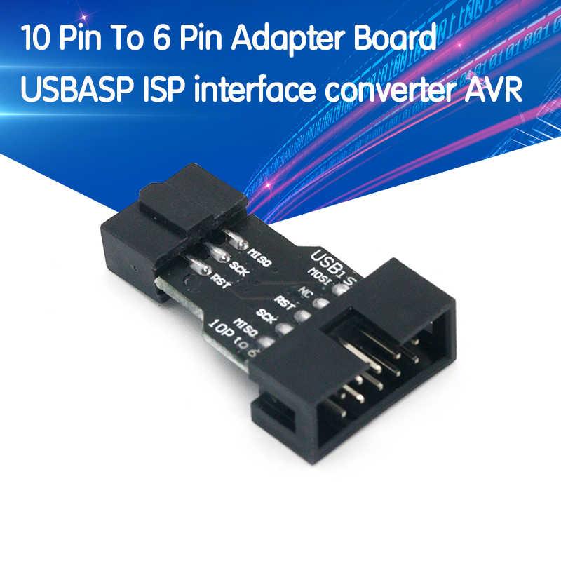 Преобразователь 10-6 контактов в стандартную 10-контактную на 6-контактную плату адаптера для ATMEL STK500 AVRISP USBASP ISP преобразователь интерфейса AVR