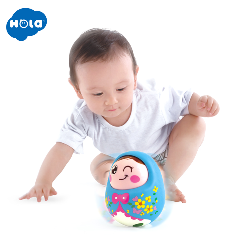 HOLA TOYS 979 Baby Toys Rattles Nodding Matlyoshka Tumbler Doll Sweet Bell Music Roly-poly Learning Educational Toys For Gifts