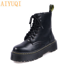 AIYUQI 2019 New Autumn Women Boots Platform flat Lace Up Flat Biker Combat Black Martin Shoes Woman Booties