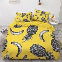 Pineapple Bedding Set Bed Linen Duvet Cover Set Pillowcase Single Double Queen King Quilt Cover Bedclothes Bohemian Children 3pc