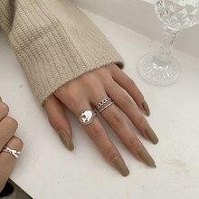 Ramos anel de prata irregular do vintage anel de prata 925 prata esterlina tamanho ajustável anel joias atacado