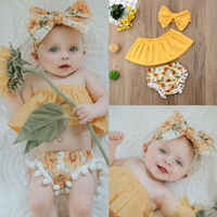 Goocheer Fashion Casual Cotton Blend Print 3Pcs Newborn Infant Baby Girl Outfits Clothes Off Shoulder Tops Shorts Headband